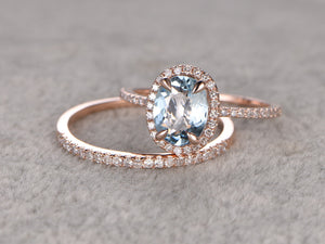 2 Aquamarine Ring Bridal Set,Engagement ring Rose gold,Diamond wedding band,14k,6x8mm Oval Cut,Blue Gemstone Promise Ring,Matching Band