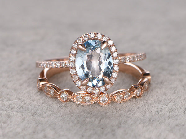 2 Aquamarine Ring Bridal Set,Engagement ring Rose gold,Diamond wedding band,Art Deco,6x8mm Oval Cut,Blue Gemstone Promise Ring,Matching Band