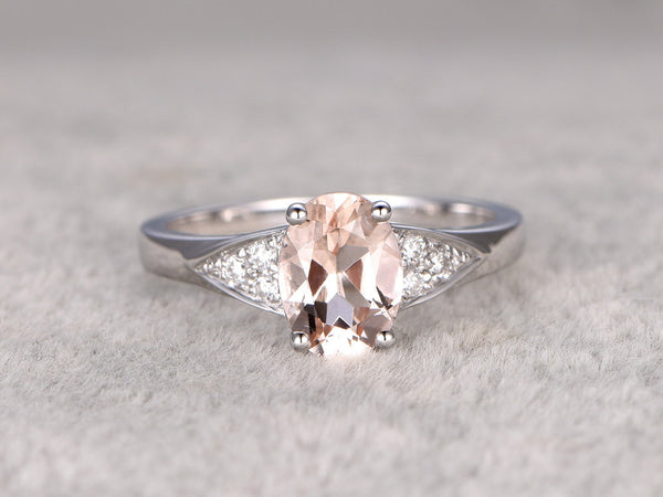 Morganite Engagement ring White gold,Diamond wedding band,14k,6x8mm Oval Cut,Gemstone Promise Bridal Ring,1.7-2.3mm matching band,ball-prong
