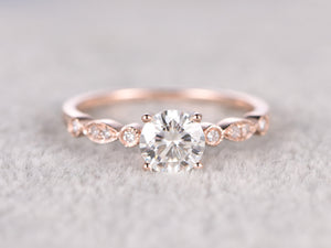 Custom order:size 13,14k rose gold,5mm Round Cut Moissanite Engagement ring
