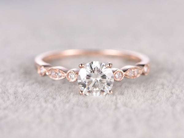 brilliant Moissanite Engagement ring Rose gold,Moissanite wedding band,14k,5mm Round Cut,Gemstone Promise Bridal Ring,Anniversary,Art Deco