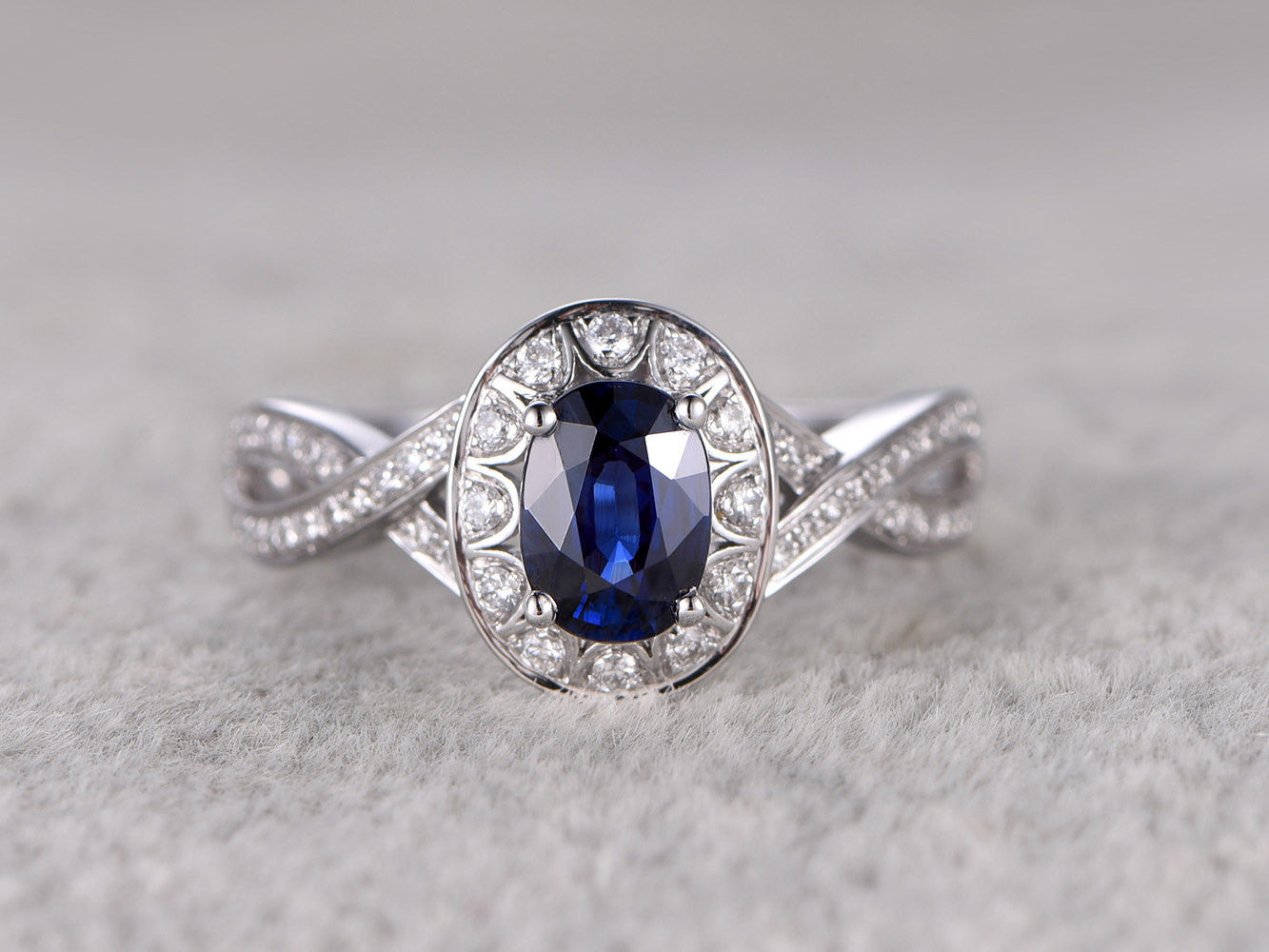 Natural Sapphire Engagement ring,1.18ctw Blue stone,Curved Loop Diamond wedding band,14K White Gold