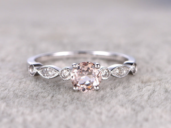 Morganite Engagement Ring White gold,14k,5mm Round Cut, Ball-Prong
