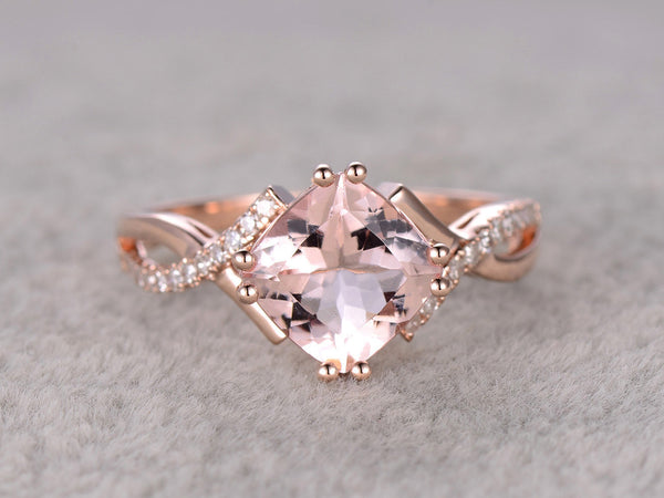 Custom order for special customer:7mm cushion cut moissanite engagement ring,size 7,14k white gold