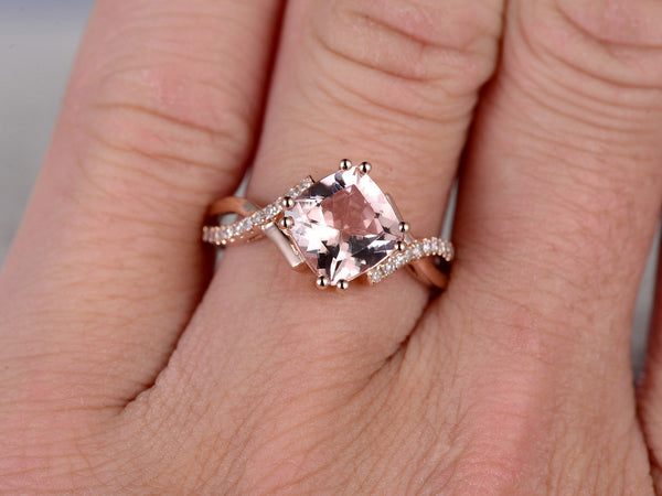 7mm Cushion Morganite Engagement ring Rose gold,Diamond wedding band,14k,Gemstone Promise Ring,Bridal Ring,8-ball-prongs,Custom made setting