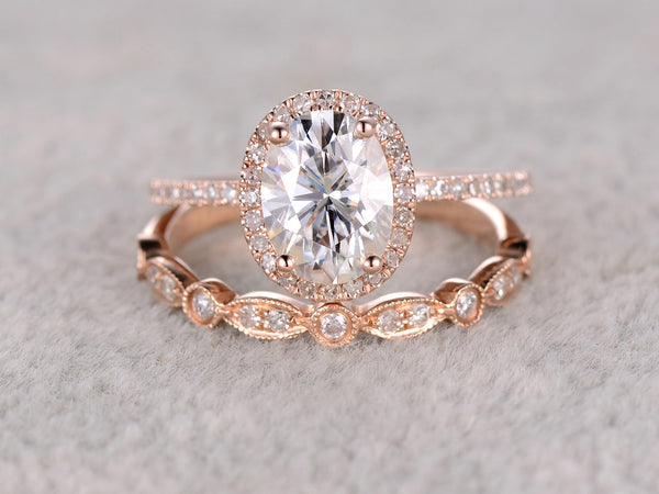 2pcs 1.5ct Moissanite Bridal Set,Engagement ring Rose gold,Diamond wedding band,14k,Oval Gemstone Promise Ring,Pave Set,Art Deco eternity
