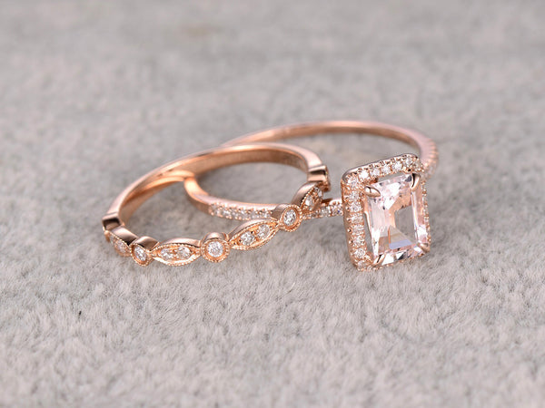 2pc 5x7mm Morganite Bridal Set,Engagement ring Rose gold,Diamond wedding band,14k,Emerald Cut,Gemstone Promise Ring,Claw Prongs,Art Deco