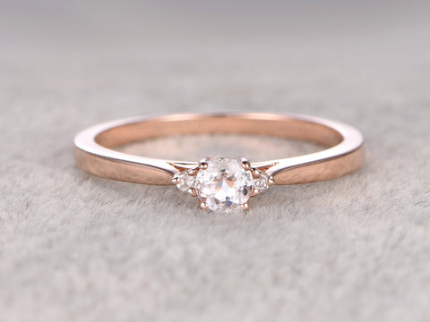 Three Stones Morganite Engagement ring Rose gold,5mm Round Cut