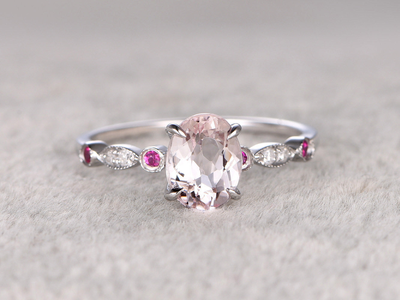 Morganite Engagement ring White gold,Diamond wedding band,14k,6x8mm Oval Cut,Gemstone Promise Bridal Ring,Art Deco matching band,Claw-prong