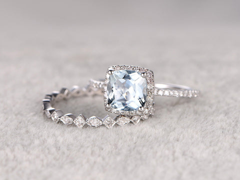 2pcs Blue Aquamarine Wedding ring set.Engagement ring,Diamond Art Deco wedding band,14K White Gold,8mm Cushion Stone Bridal Ring,Stacking