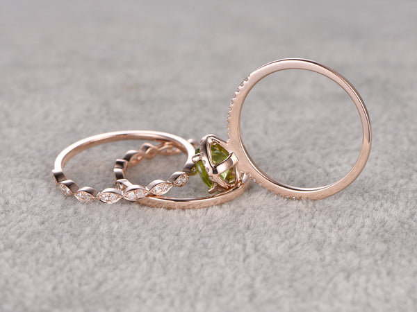 3pcs Peridot Bridal Ring Set,Engagement ring Rose gold,Diamond wedding band,14k,7mm Round Cut,Gemstone Promise Ring,Marquise Eternity Band