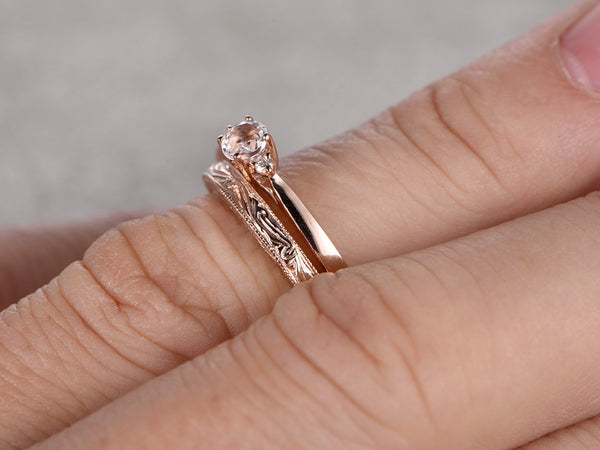 2pcs Morganite Bridal Ring Set,Diamond Engagement ring Rose gold,wedding band,14k,5mm Round Cut,Promise Ring,Retro Vintage Floral,Filigree