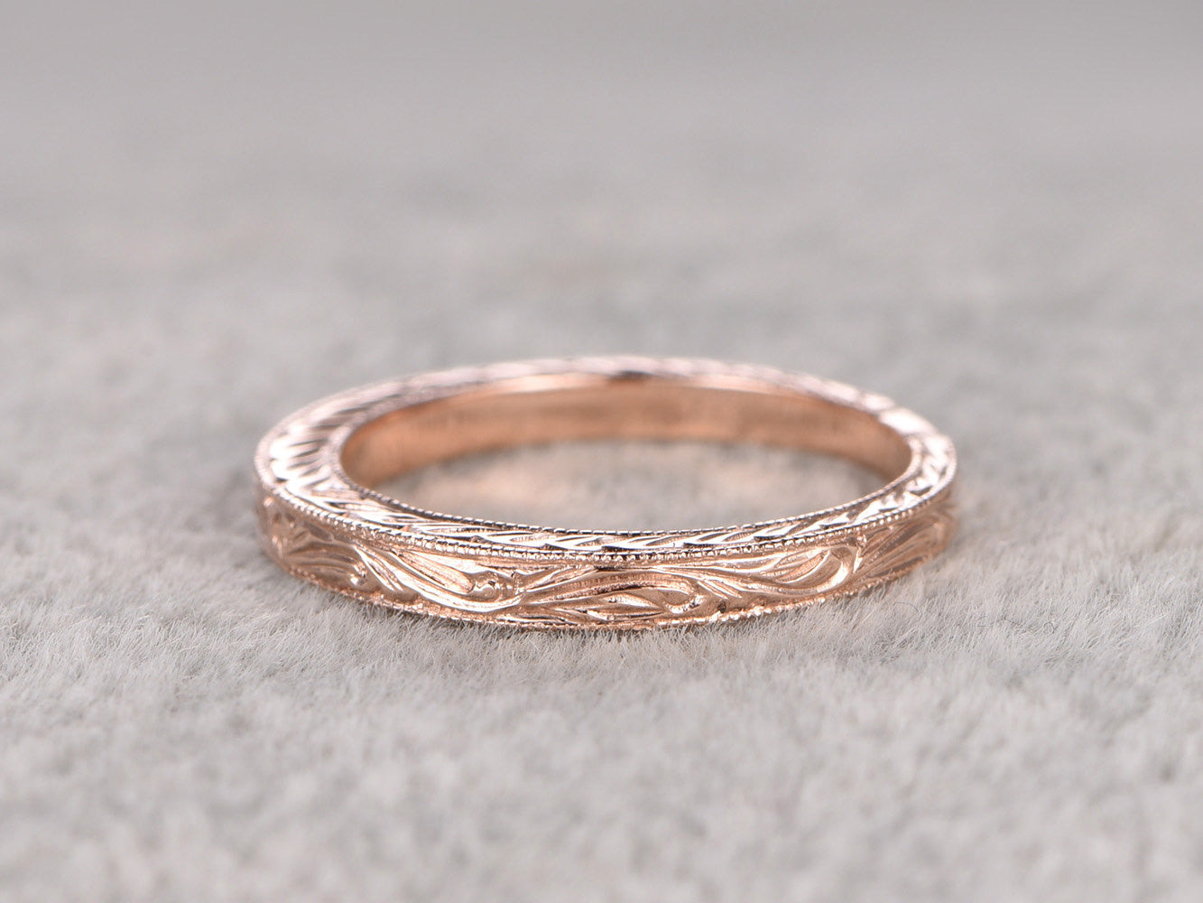 Art deco,Eternity Infinity Wedding Ring,Solid 14K Rose gold,Anniversary Ring,Filigree Floral style,stacking,milgrain,Matching band