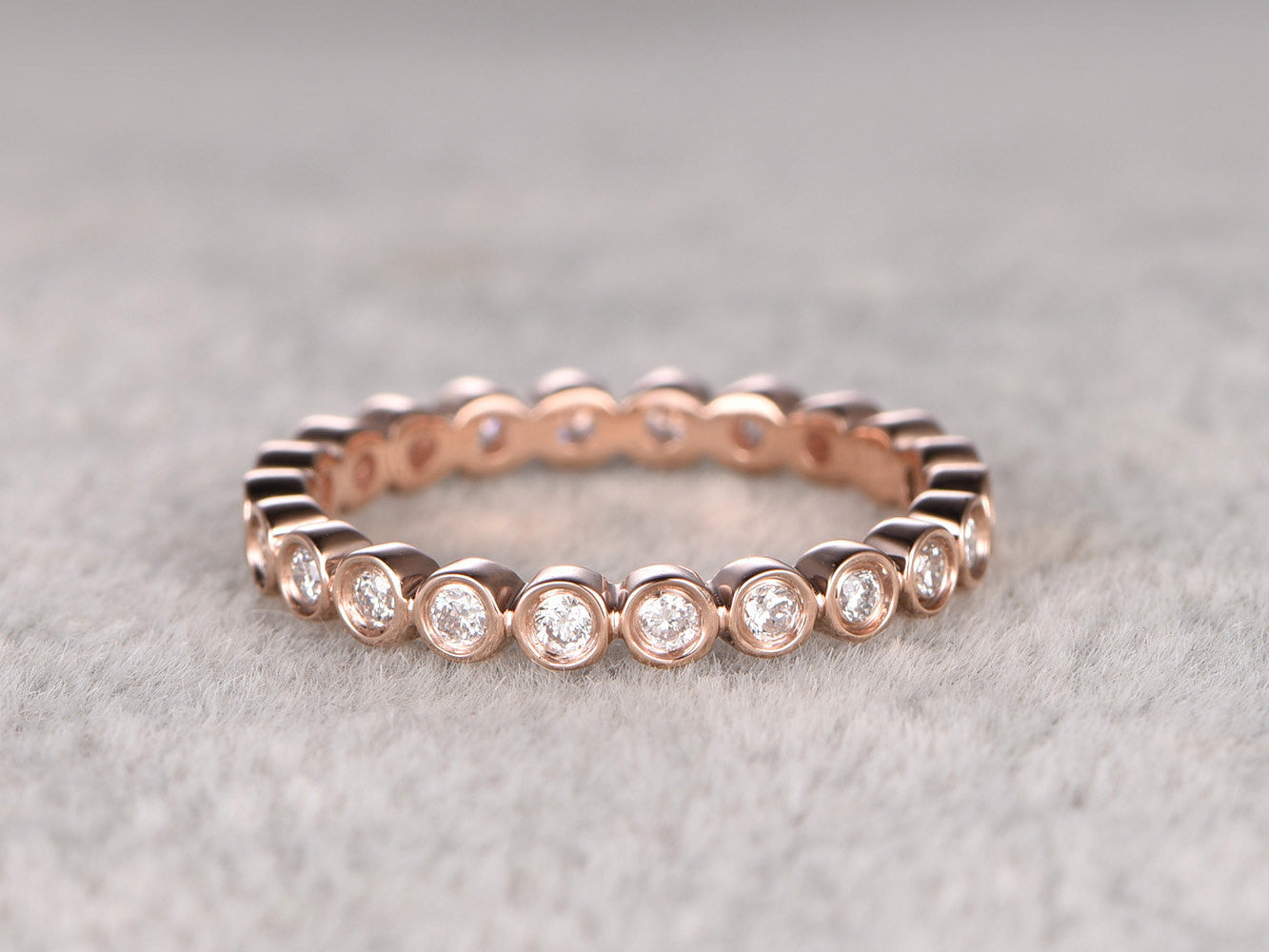 Full Eternity,1.5mm Round Diamond Wedding Ring,Solid 14K Rose gold,Anniversary Ring,Bezel Set,Infinity,stacking Ring,Matching band