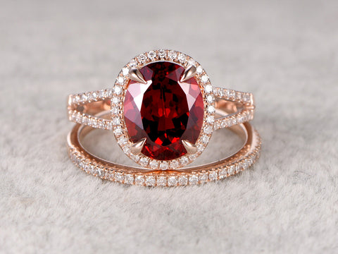2pcs 8x10mm Natural Garnet Bridal Ring Set,Engagement ring,14k Rose gold,Diamond wedding band,Claw prongs,Oval Stone,Gemstone Promise Ring