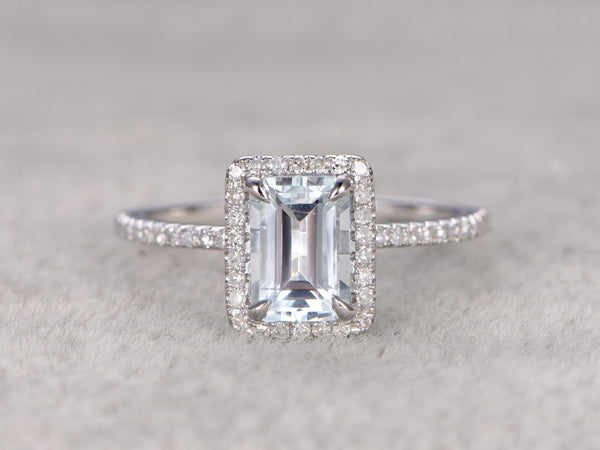 5x7mm Emerald Cut Aquamarine Engagement ring,VS Diamond wedding band,14K Gold,Blue Gemstone Promise Ring,Bridal Ring,Claw Prongs,Halo