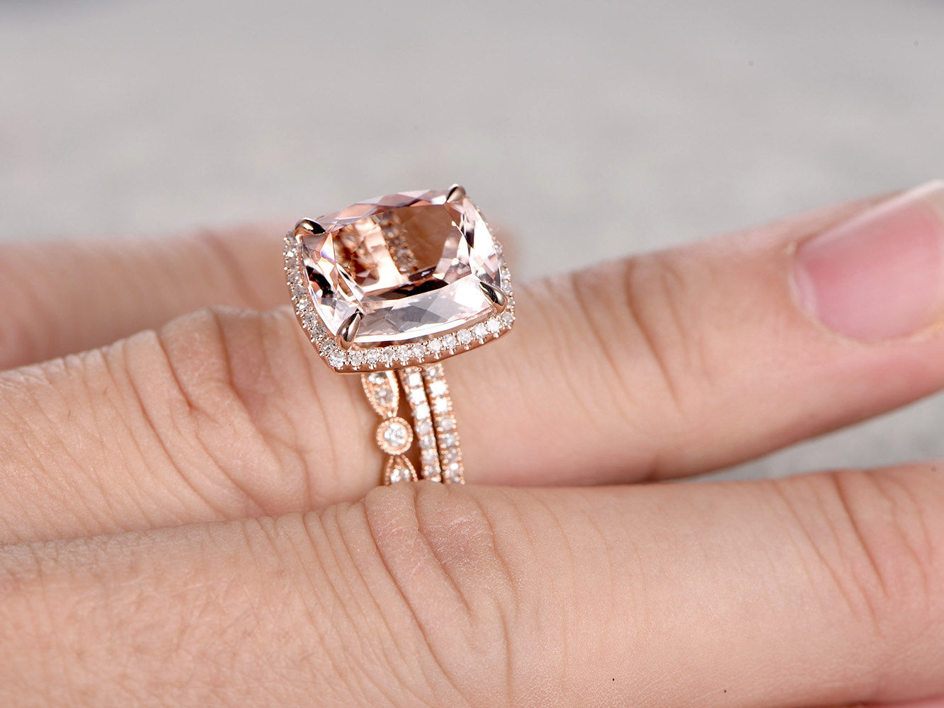 3pcs 10x12mm Cushion Morganite Bridal Ring Set,Engagement ring Rose gold,Diamond wedding band,Gemstone Promise Ring,Art Deco Stacking Band