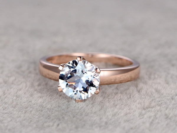 7mm Round Natural Aquamarine Ring!Solitaire Engagement ring Rose gold,Bridal Plain Gold,Blue Stone Gemstone Promise Ring,wedding band