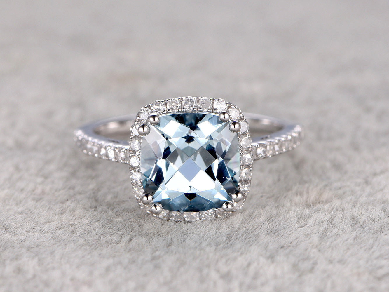 2.3ct Cushion Natural Aquamarine Ring!Diamond Engagement ring White gold,Bridal,Unique 8-Ball prong,Blue Stone Gemstone Promise Ring,wedding
