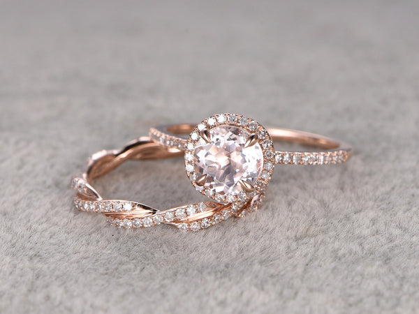2 Morganite Bridal Ring Set,Engagement ring Rose gold,Twist Curved Diamond wedding band,14k,7mm Round Gemstone Promise Ring,Matching band