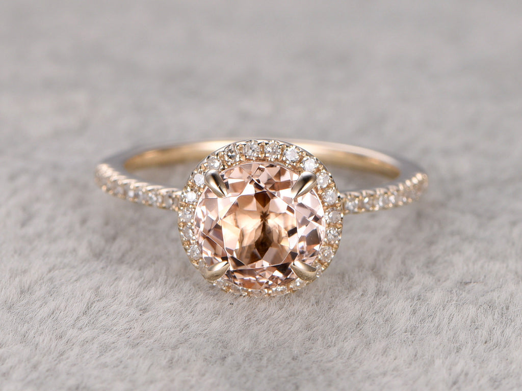 7mm Morganite Engagement ring Yellow gold,Diamond wedding band,14k,Round Cut,Gemstone Promise Bridal Ring,Claw Prongs,Pave Set,Handmade