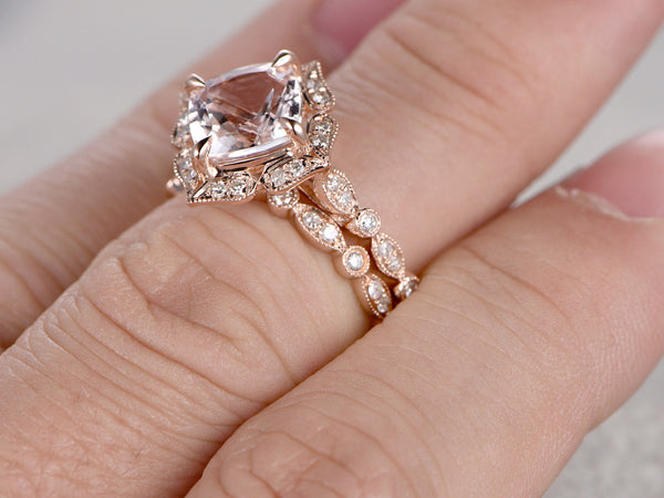 2pcs Morganite Bridal Ring Set,Art Deco Engagement ring 14k Rose gold,Diamond wedding band,7mm Cushion Cut,Promise Ring,Retro Vintage Floral