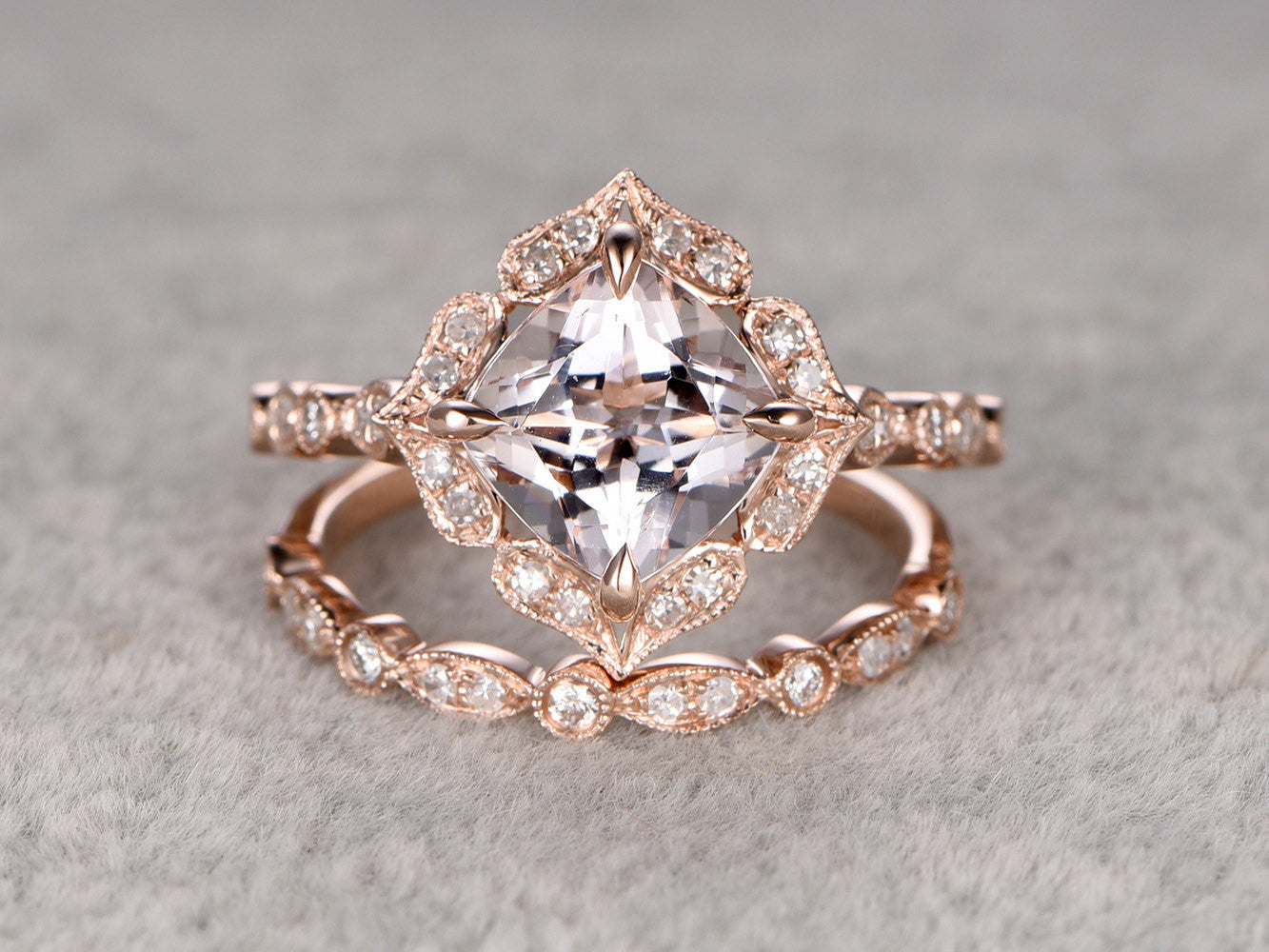 2pcs 8mm Morganite Bridal Ring Set,Art Deco Engagement ring 14k Rose gold,Diamond wedding band,Cushion Cut,Promise Ring,Retro Vintage Floral