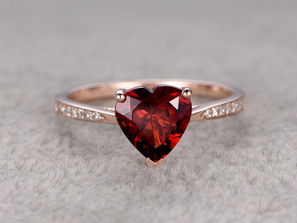 8mm Heart Garnet Engagement ring,Diamond wedding band,14K Rose Gold,Red stone Promise Ring,Bridal Ring,Birthstone Ring,Fine Fashion design