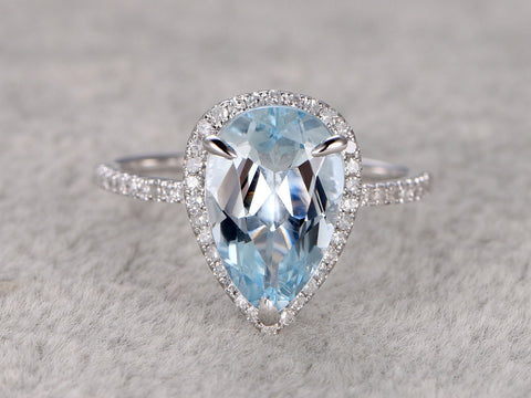 8x12mm Pear Big Aquamarine Ring!Diamond Engagement ring White gold,Bridal,Unique Design,14k,stacking ring,Blue Stone Promise Ring,wedding