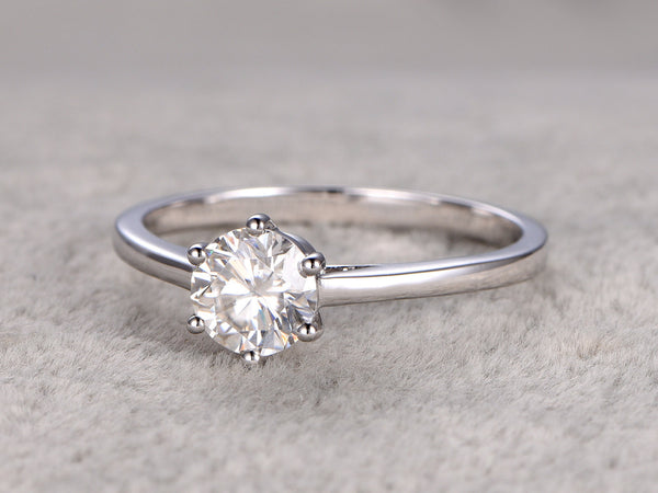 6-prongs Classic brilliant Moissanite solitaire Engagement ring 14k White Plain gold
