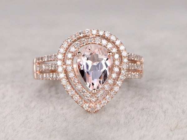 Morganite Engagement ring rose gold,Double halo Diamond wedding band,14k,6x8mm Pear shaped,Gemstone Promise Bridal Ring,Split shank,Pave Set