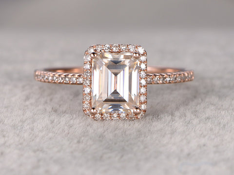 6x8mm Emerald Cut Moissanite Engagement ring,14k Rose gold,1.8ctw