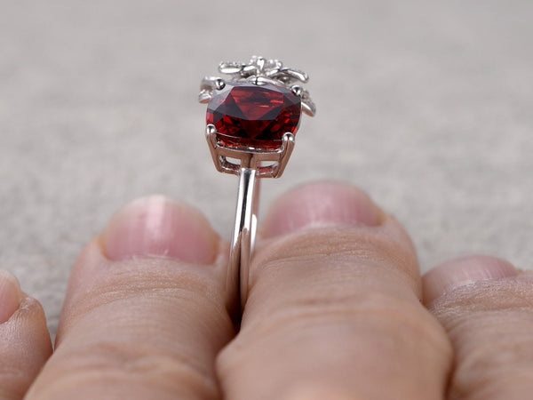 Cushion Natural Garnet Engagement ring,Diamond Flower wedding band,14K White Gold,Red stone Promise Ring,Bridal Ring,Unique design,Bridal