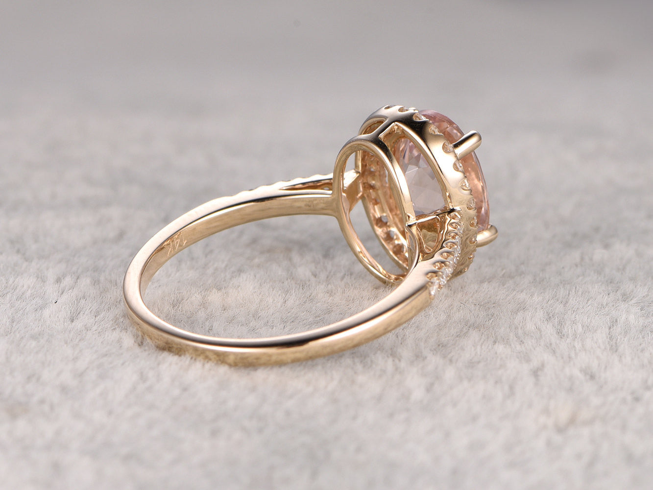 7x9mm Morganite Engagement ring Yellow gold,Diamond wedding band,14k,Oval Cut,Gemstone Promise Bridal Ring,Ball Prongs,Halo Half Eternity