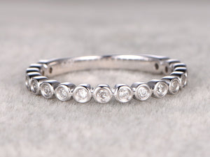 3/4 Eternity Diamond Wedding Ring,Solid 14K White gold,Anniversary Ring,Bezel Set style,stacking,Matching band,Engagement,Bridal ring