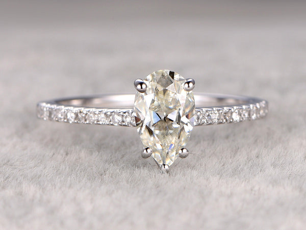 Moissanite Engagement ring 14k White gold,Diamond wedding band,1ct Pear shaped Cut Gemstone Promise Bridal Ring,Anniversary,New design