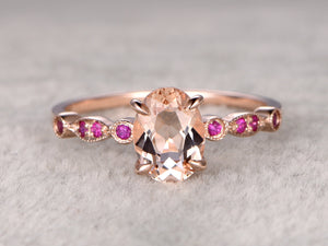 Morganite Engagement ring Rose gold,Ruby wedding band,14k,6x8mm Oval Cut,Gemstone Promise Bridal Ring,Art Deco matching band,Claw-prong