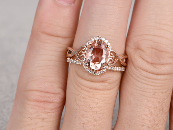 2pcs Morganite Engagement ring Set,Rose gold ,6x8mm Oval Cut,Open design matching band