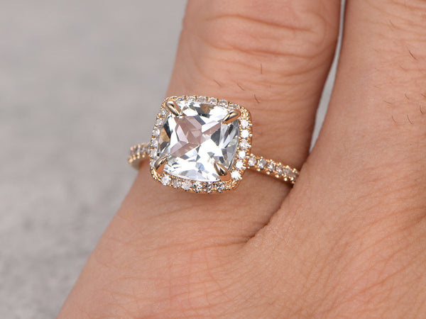 2.6ct White Topaz Engagement ring,Diamond wedding ring,14K Yellow Gold Band,Cushion Cut Stone Promise Ring,Bridal Ring,Curved matching band