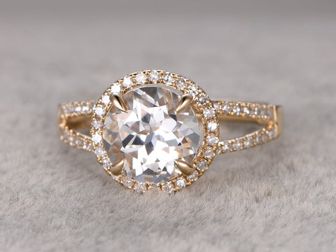 2.3ct White Topaz Engagement ring,Diamond wedding ring,14K Yellow Gold Band,Round Cut Stone Promise Ring,Bridal Ring,Split Shank stacking