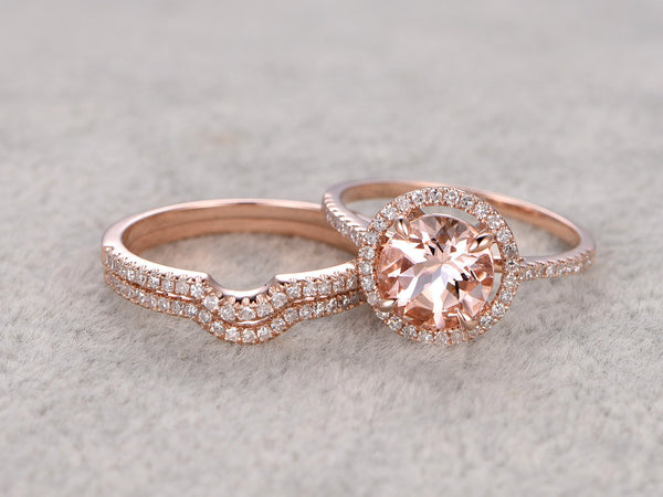 3pcs 8x8mm round Morganite Bridal Ring Set,Engagement ring Rose gold,Curved Diamond wedding band,14k,Promise Ring,Stacking matching band