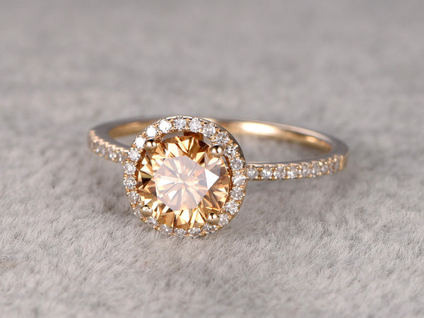 Fine brilliant Yellow Moissanite Engagement ring gold,Diamond wedding band,1ct Round stone Promise Bridal Ring,Halo prong,Anniversary ring