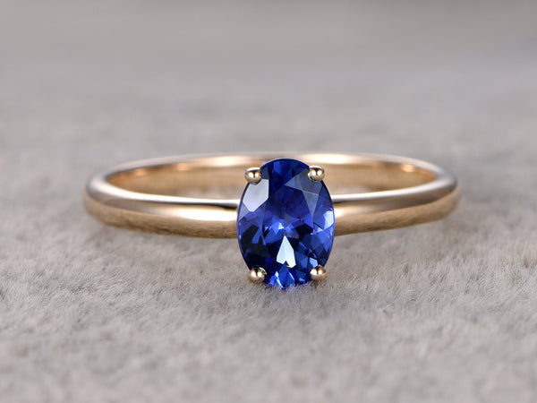 Solitaire Tanzanite Engagement ring,Plain gold band,14K Yellow Gold,Oval cut stone