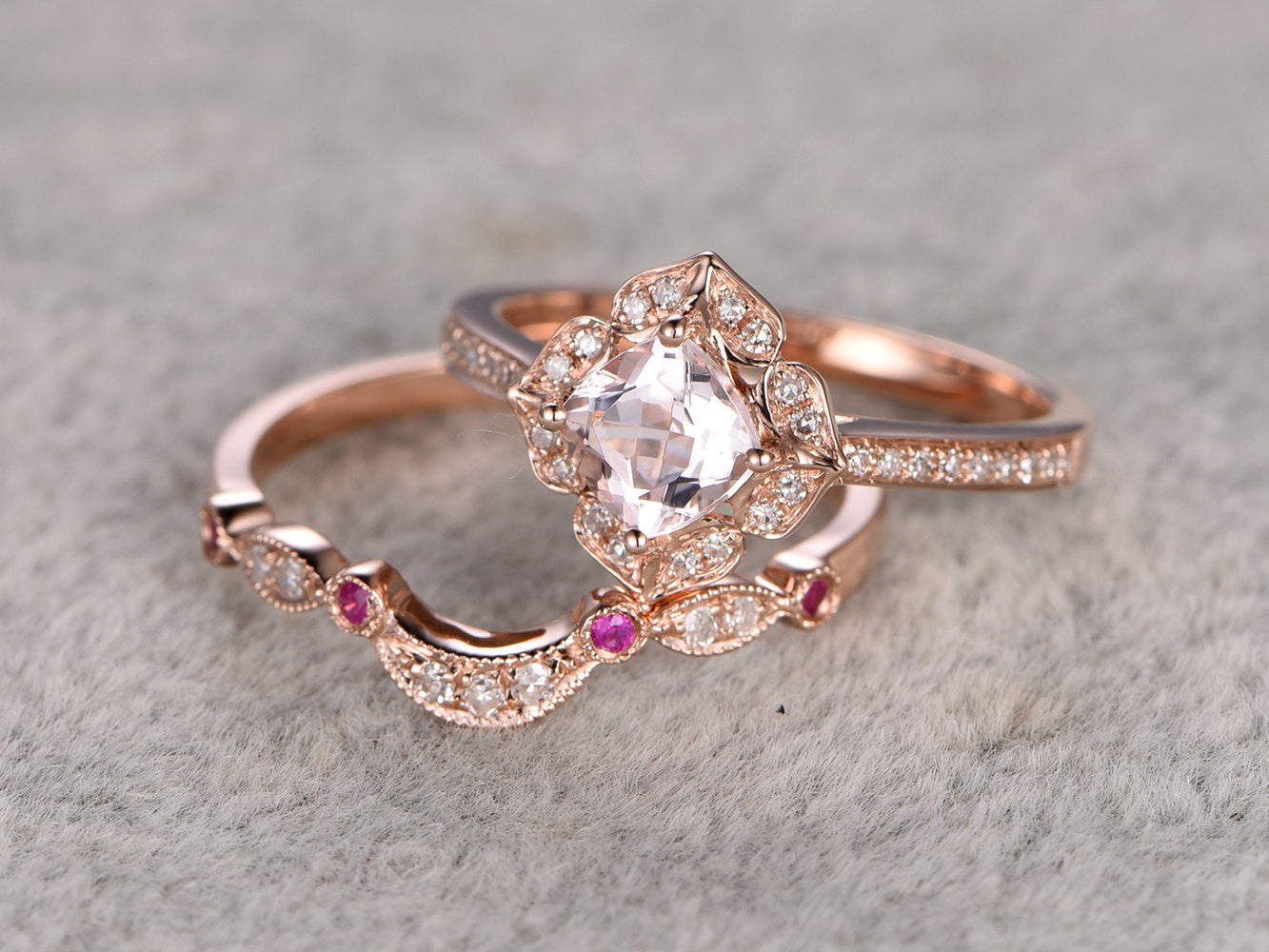 2pcs Morganite Bridal Ring Set,Engagement ring Rose gold,Diamond wedding band,14k,6mm Cushion Cut,Promise Ring,Retro Vintage Floral,Art Deco