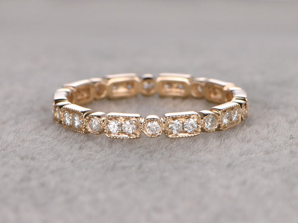 Natural Diamond Full Eternity Wedding Ring,Solid 14K Yellow gold,Anniversary Ring,Art deco style,stackable ring,milgrain,Retro vintage fine