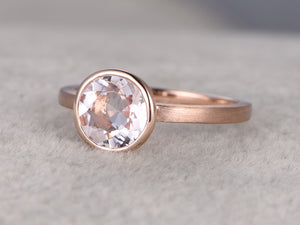 7x7mm Morganite Solitaire Engagement ring, 14k Rose gold,Plain gold wedding band,round Cut,Promise Bridal Ring,Bezel,unique design