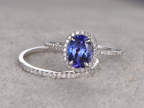 Tanzanite wedding ring sets,Engagement ring,Diamond Promise Ring,14K White Gold,Halo Bridal Ring,band,Blue Gemstone ring