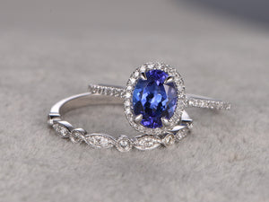 Tanzanite Bridal set,Engagement ring,Art Deco Diamond Wedding band,14K White Gold
