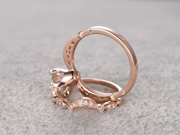 brilliant Moissanite Engagement ring Rose gold,Diamond wedding band,14k,6.5mm Round Cut,Gemstone Promise Bridal Ring,unique prong,new design