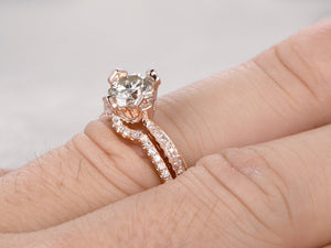6.5mm brilliant Moissanite Engagement ring set Rose gold,Diamond wedding band,14k,Gemstone Promise Bridal Ring,unique prong,new design